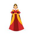 majestic queen in red dress and gold crown vector image