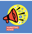 Megaphone with Marketing Power concept vector image vector image