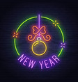 merry christmas neon sign neon sign new year vector image vector image