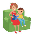 mother reading a book for son vector image vector image