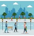 people walking in street city vector image vector image