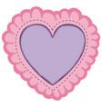 pink color decorative frame in heart shape with vector image vector image