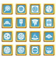 pizza icons azure vector image vector image