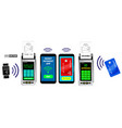 realistic wireless nfc payment machine terminal vector image