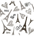 romantic seamless eiffel tower paris background vector image vector image