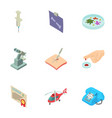 saving man icons set isometric style vector image vector image