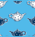 seamless background drawn tea pots vector image vector image