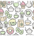 seamless pattern of tea tea ceremony vector image vector image