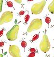 Seamless Patterns with watercolor pears and vector image vector image