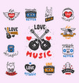 set of vintage musical labels hand drawn templates vector image vector image