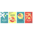 summer vacation poster set with relaxing people on vector image