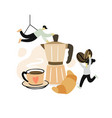two people make coffee for breakfast hot pot vector image