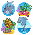 various sea animals and fishes vector image vector image