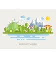 Wind Turbins In Countryside Lined vector image