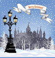 winter cityscape with castle view city park vector image vector image