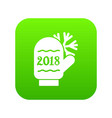 winter glove icon green vector image