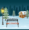 winter night background with street lamp and bench vector image vector image