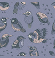 hand drawn tropical birds pattern vector image