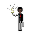 african businessman with dollar sign in hand vector image