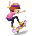 An energetic young woman skateboarding vector image