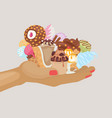 assortment icecream waffle cones with scoops of vector image vector image