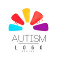 autism awareness day emblem with abstract petals vector image vector image