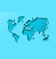 blue paper cutout world map papercut concept vector image