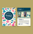 brochures with girls boutique cartoon vector image vector image