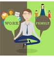 Businessman meditating Man balancing family and vector image vector image