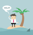 Businessman need help on the small island vector image