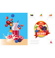 cartoon berry smoothies concept vector image