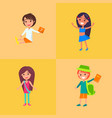 children having fun collection of four vector image vector image