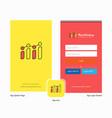 company graph splash screen and login page design vector image