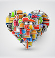 creative heart sign made of shopping items vector image vector image
