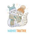cute christmas animal forest raccoon couple in vector image vector image