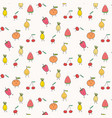 cute fruits pattern background vector image vector image