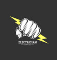 electrician services hand holding a lighting bolt vector image
