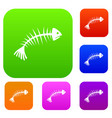 fish bones set collection vector image vector image