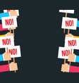 fist and placard protest concept people hands vector image