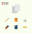 flat icon equipment set of notepaper clippers vector image vector image