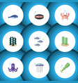 flat icon nature set of cancer octopus tentacle vector image