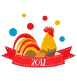 flat rooster 2017 vector image