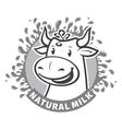 Fresh natural milk emblem vector image vector image