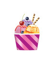 ice cream cup with strawberry and blueberry vector image vector image