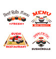 icons set of japanese restaurant sushi menu vector image vector image