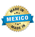 made in Mexico gold badge with blue ribbon vector image vector image