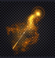 magic wand with fire trail glowing light effect vector image vector image