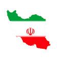 map of iran and iranian flag vector image vector image