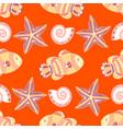 marine seamless pattern with fish starfish vector image vector image