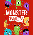 monster party poster with aliens on red background vector image vector image
